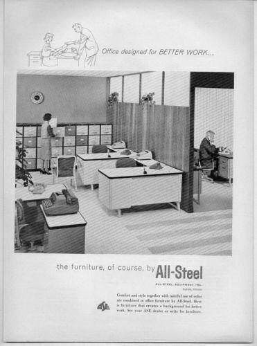 1961 Vintage Ad All Steel Office Furniture Aurora,Illinois