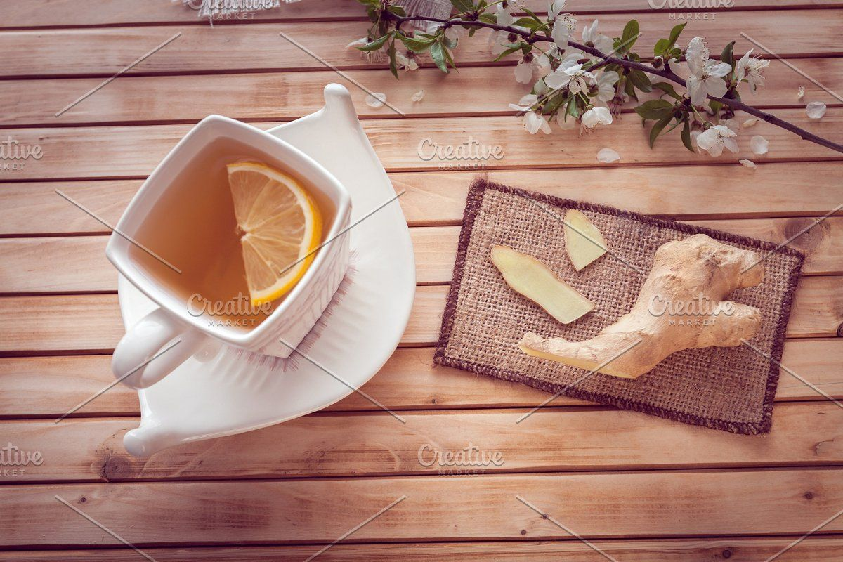 ginger and cup of tea with lemon in 2020 | Tea cups, Lemon ...