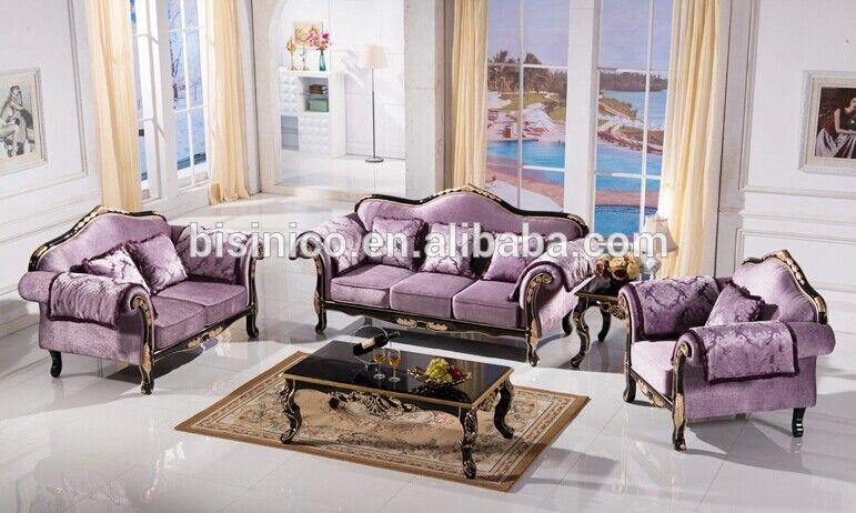 Purple Noble Living Room Furniture Set, European Style
