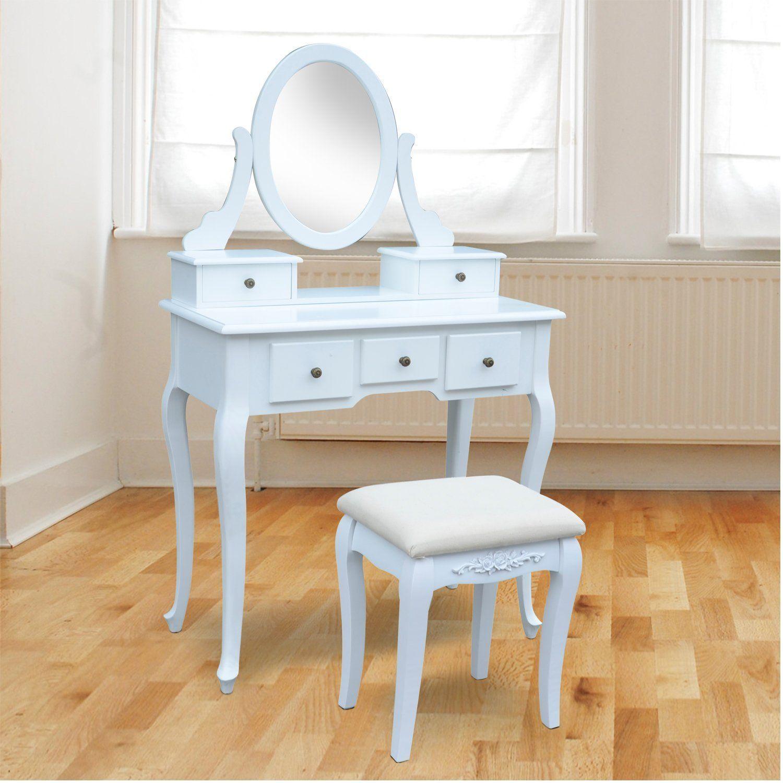 Tocador con taburete y espejo mesa de maquillaje con 5 - Tocador madera nina ...
