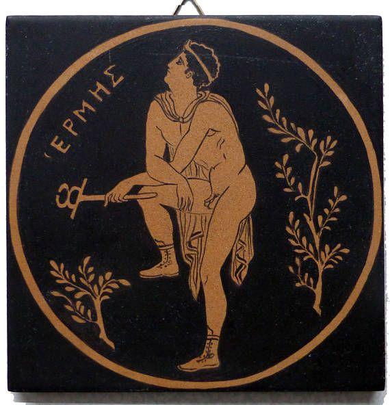 Greek terracotta tile with Mercury Hermes handpainted