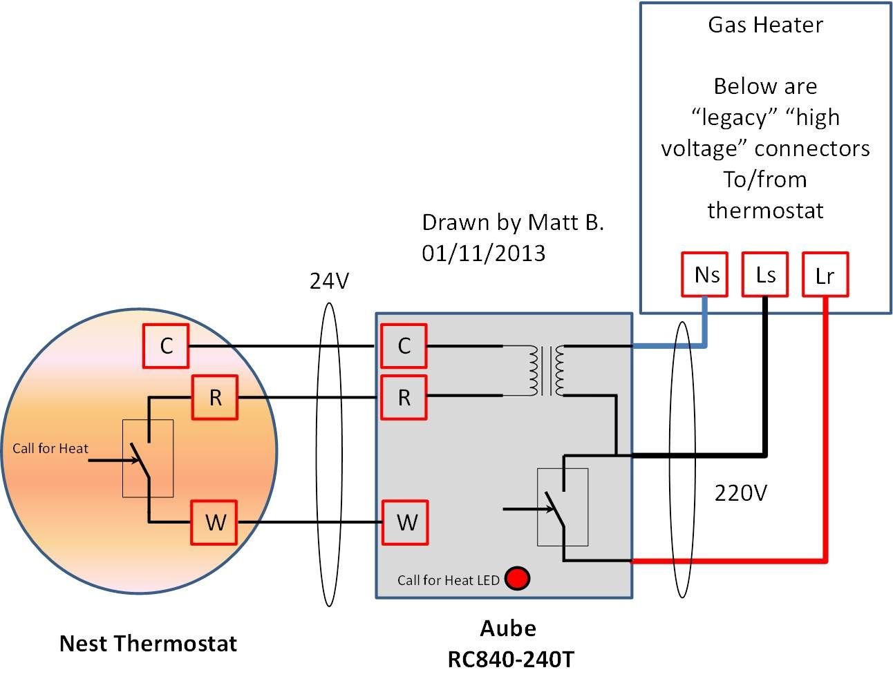 High Voltage Nest Thermostat Wiring On A 220v 2240v In Europe French House Diagram France