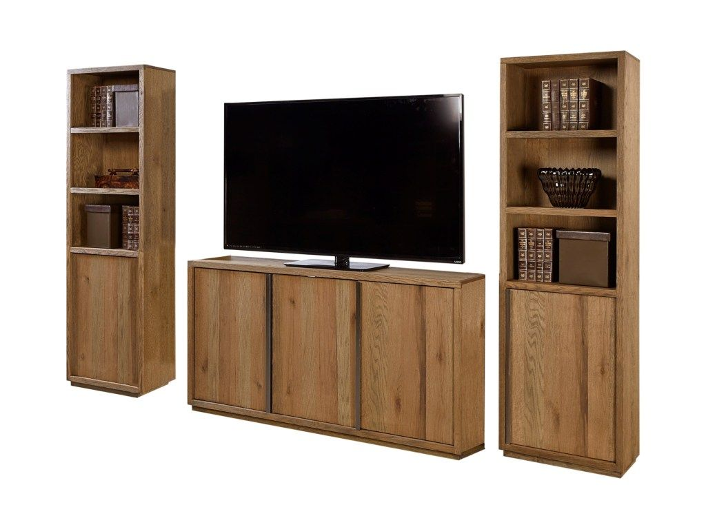 District entertainment wall with five doors by aspenhome in