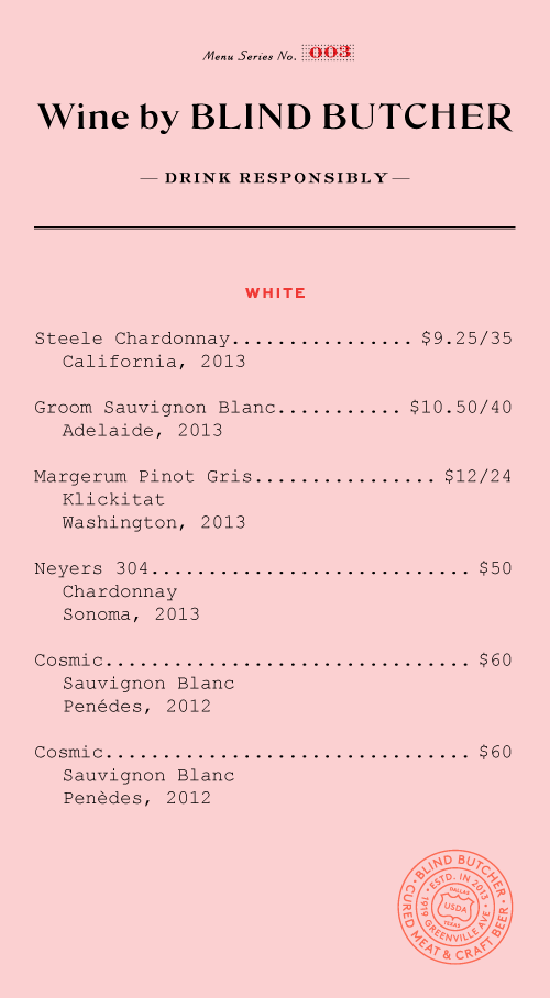 Blind Butcher Menu By Tractorbeam  Menu Design Pink And Red