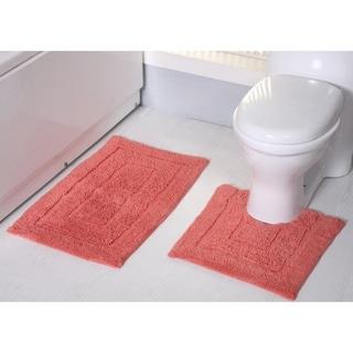 Avani 2 Piece Cotton Bath Rug Set Coral Pink Rt Designer Collection Cotton Bath Rug Bath Mat Sets Bath Rugs Sets