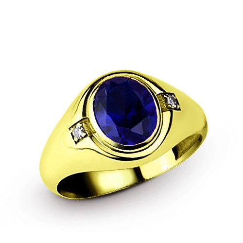 14k Yellow Gold Men s Ring with Blue Sapphire and Diamonds $367.20 - 427.20 https://www.jewelsformen.com/products/mens-ring-in-14k-yellow-gold-with-blue-sapphire-and-diamonds%20