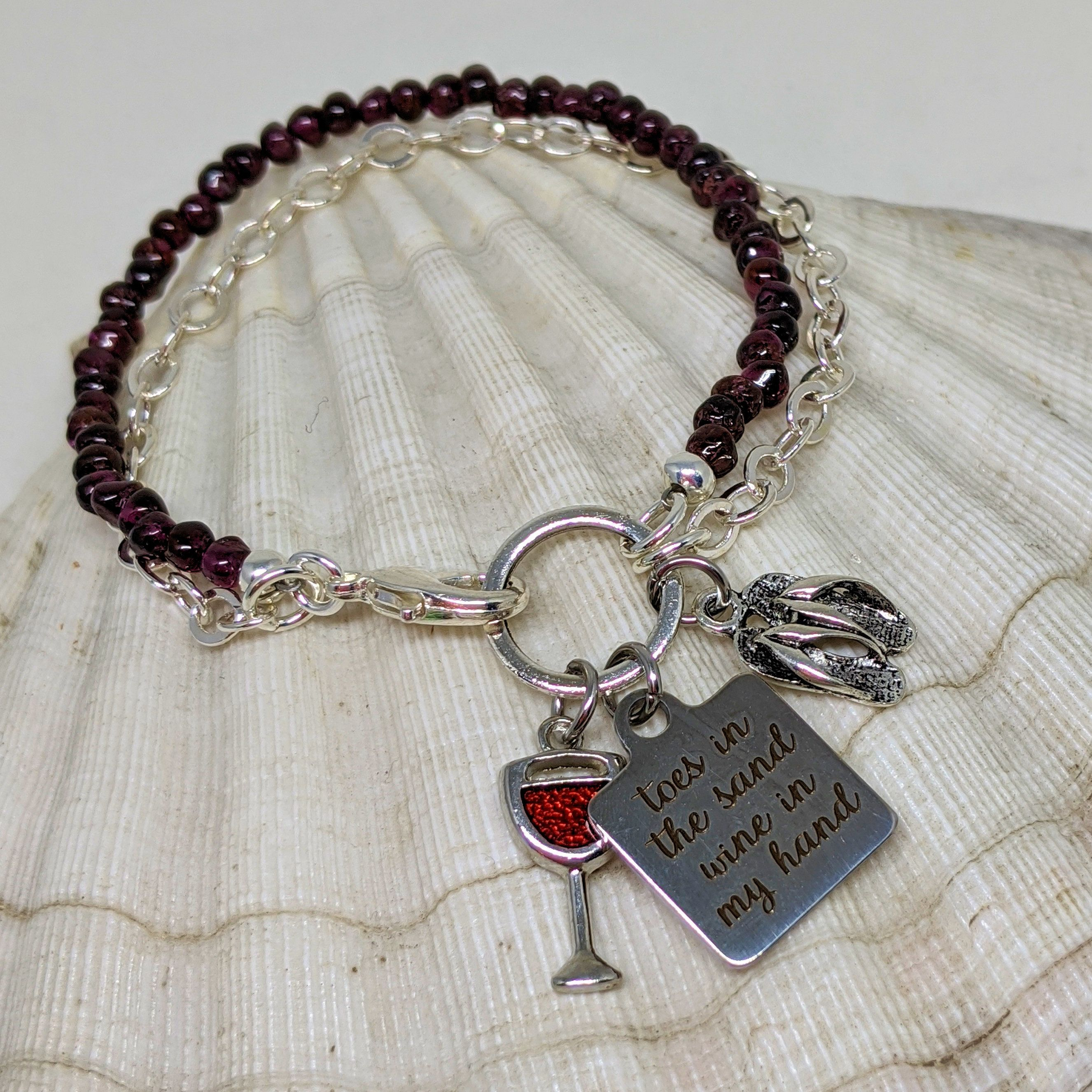 Wine Lovers Beach Bracelet Toes in the Sand Wine in my Hand
