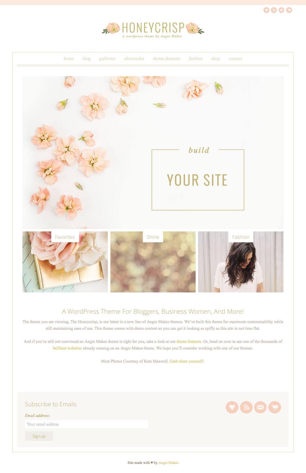 Honeycrisp Pretty Girly Blog WordPress Theme | Wordpress and Premium ...