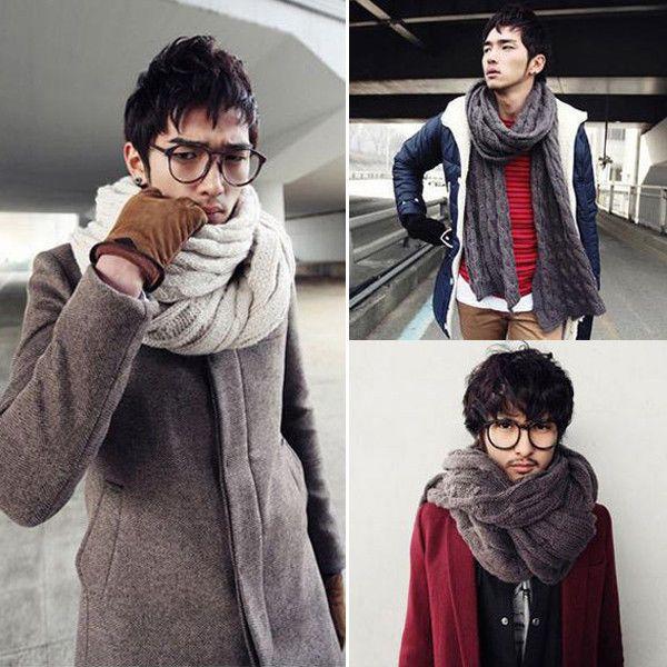 New Fashion Korean Men Women Winter Knit Wool Long Scarf Shawl Wrap 10  colors | Mens scarf fashion, Winter scarf, Korean fashion men