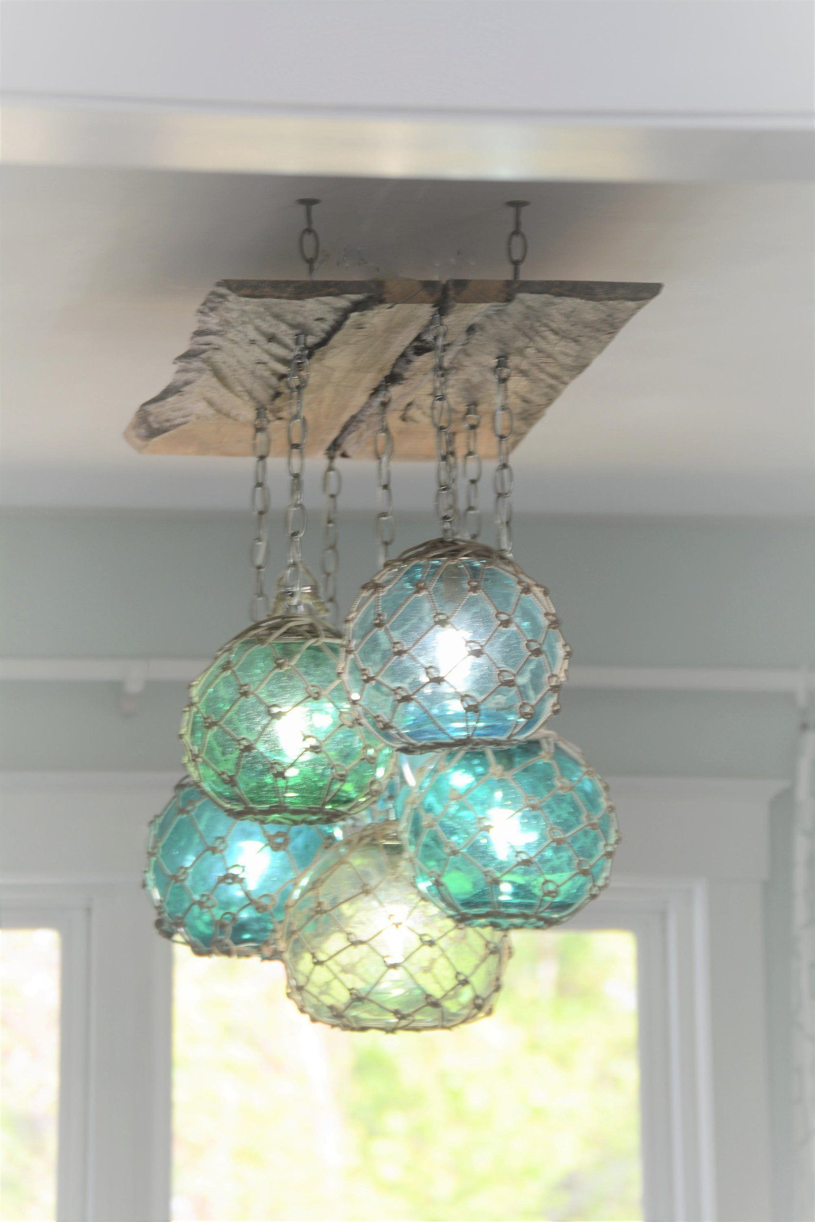 Glass Fishing Float Light Fixture Chandelier With 7 Floats Etsy Beach House Decor Glass Fishing Floats Cottage Decor