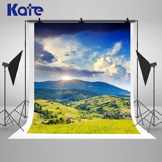 Sunny Mountain Landscape Photography Backdrops Green Grassland Backdrops Photography Backdrops