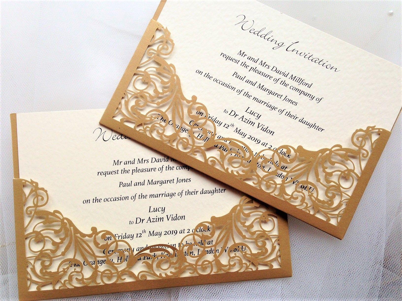 gold laser cut pocket wedding invitations 2 each wedding