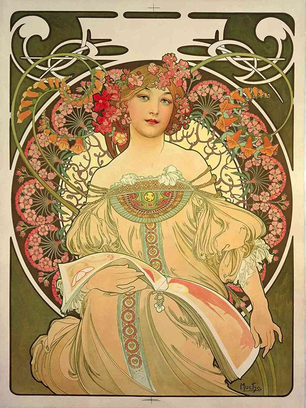 Amazon.com: The Museum Outlet - Obraz by Alphonse Mucha - Poster Print Online Buy (24 X 18 Inch): Posters & Prints