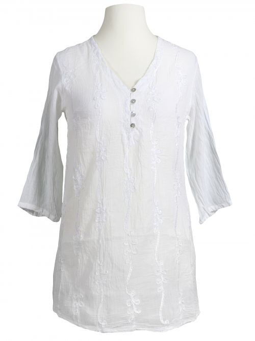 e61af393debd Damen Tunika Bluse mit Stickerei