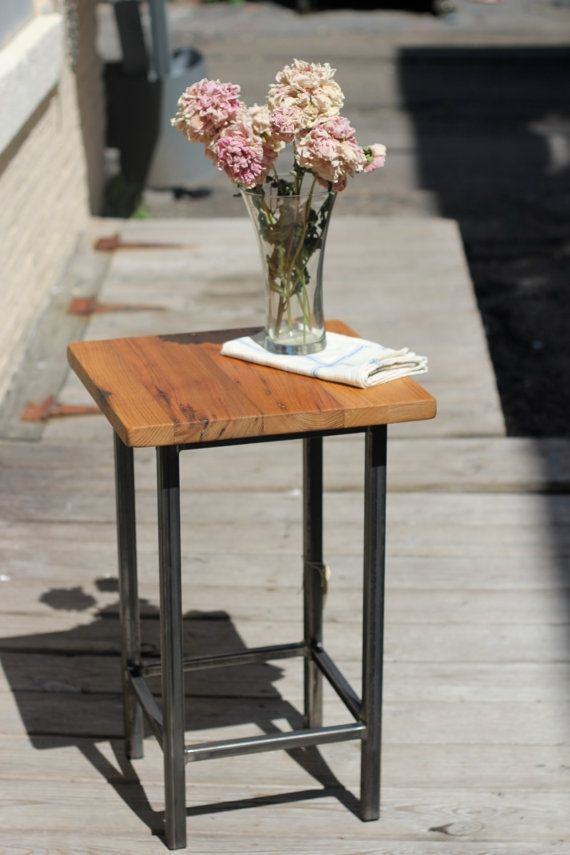 Reclaimed Chestnut Metal Square End Table