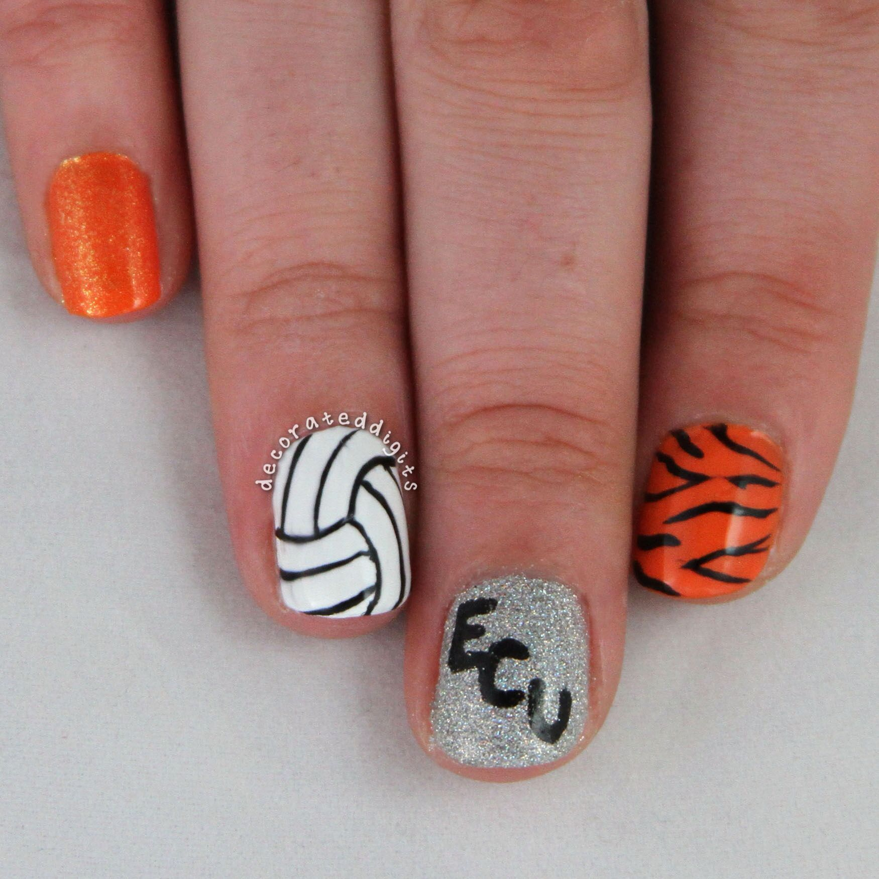 East Central University Tigers Volleyball Nails By Decorateddigits Volleyball Nails Sports Nails Cute Acrylic Nails