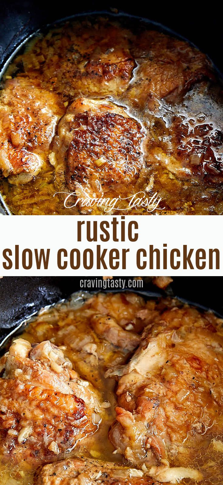 Best slow cooker chicken - delicious, melt-in-your-mouth tender and succulent. | cravingtasty.com #chicken #slowcookerchicken #slowcookerchicken