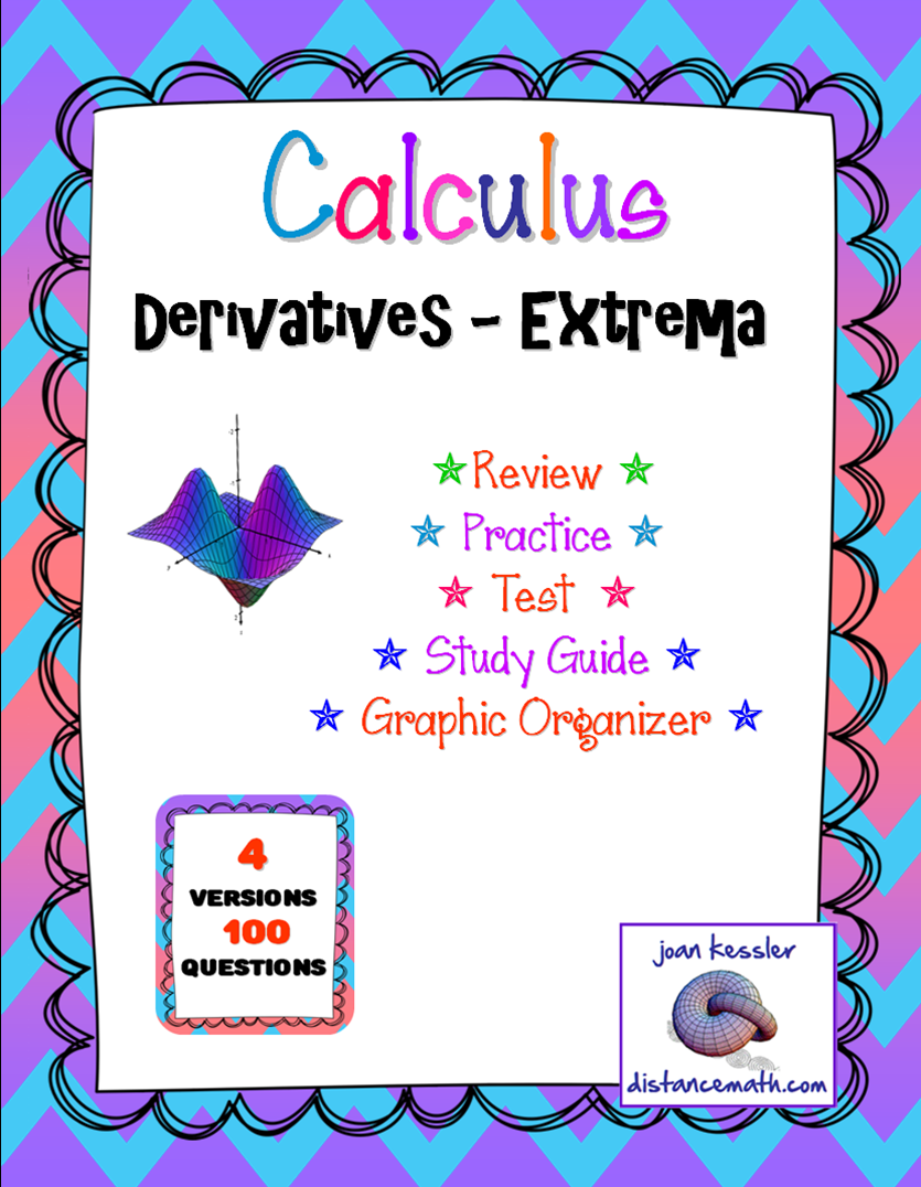 Calculus extrema derivatives 4 tests plus graphic