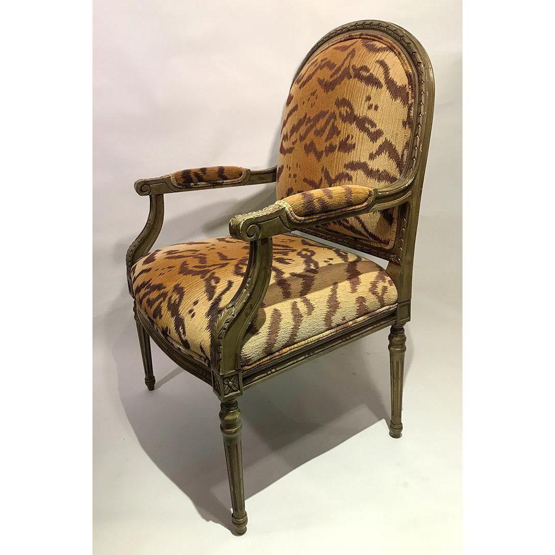 Vintage Henredon Tiger Print Chairs Set Of 4 Chic Living Room Chair Printed Chair #print #chairs #living #room