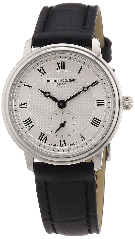 Frederique Constant Women S Slim Line Swiss Quartz Stainless Steel And Leather Dress Watch Color Black Model Fc235 Black Watch Watch Design Womens Watches [ 1500 x 845 Pixel ]