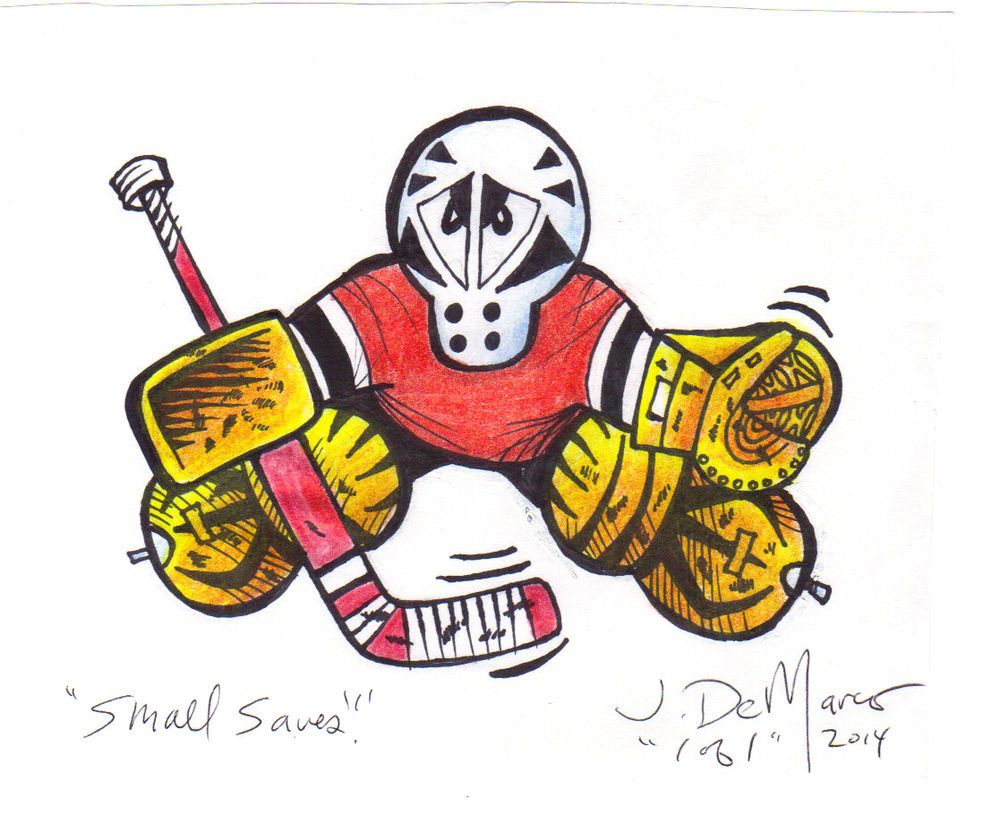 50015bc87 Small Saves GOALIE ORIGINAL DRAWING Hockey pen ink art pads mask gloves  stance
