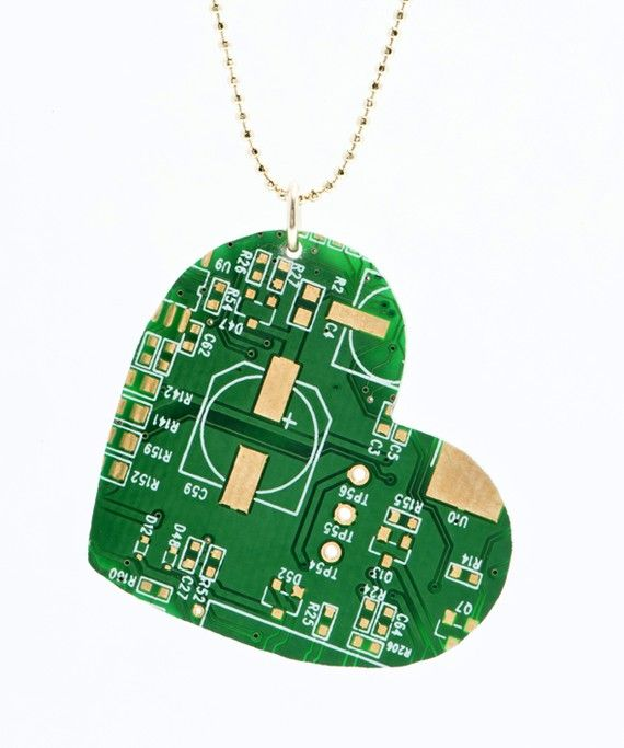 Find This Circuit Board Heart Necklace And Other Upcycled Tech Jewelry
