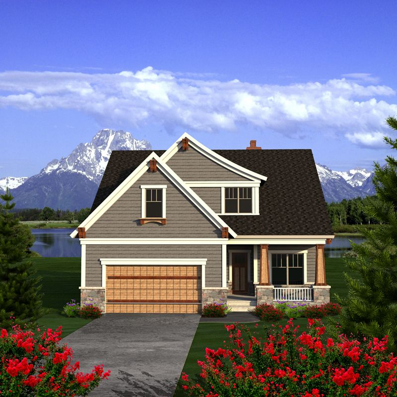 Norberg Neoclassical Home Shingle House Plan Front of Home