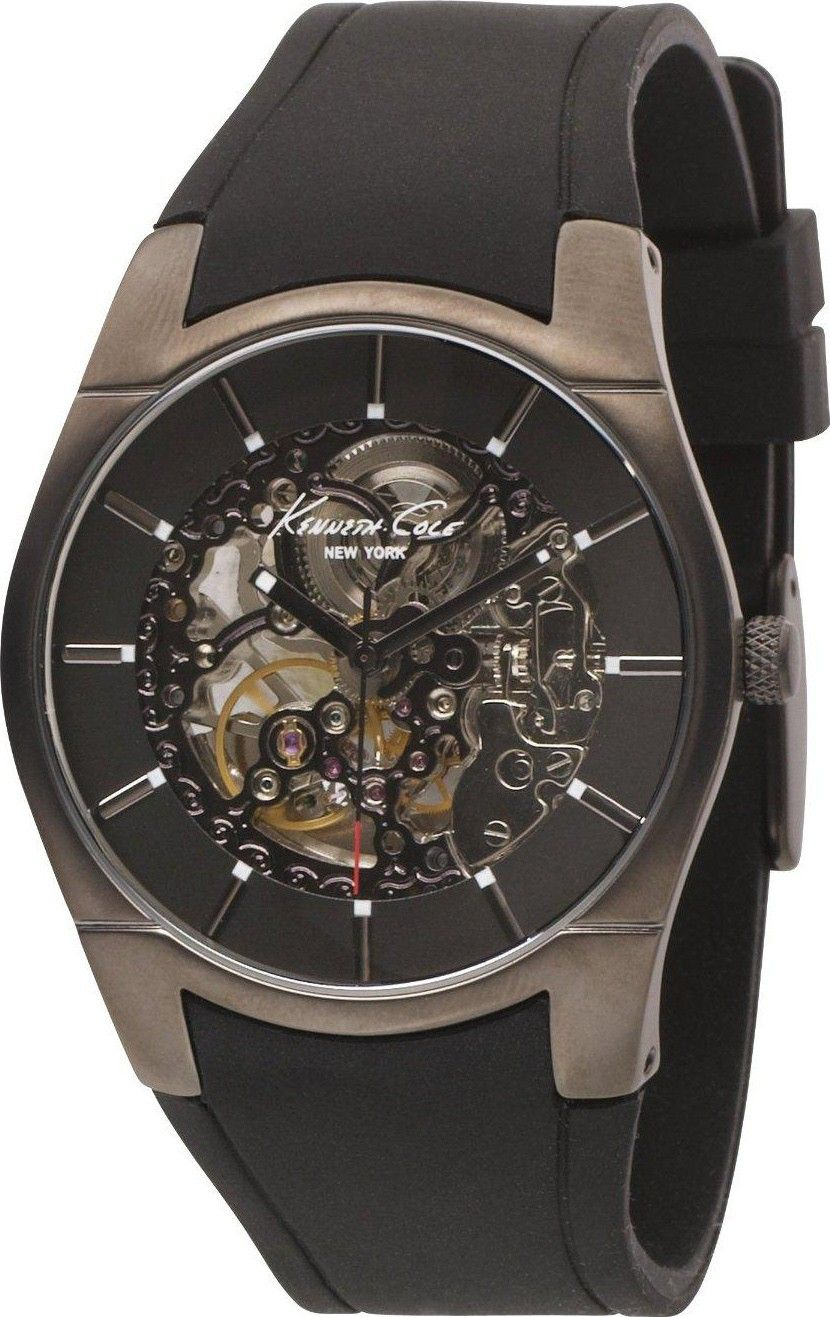 Kenneth Cole Mens New York Automatic Stainless Watch - Black Rubber Strap - Skeleton Dial