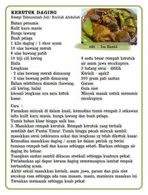 Kerutuk Daging Beef Recipes Cooking Malay Food