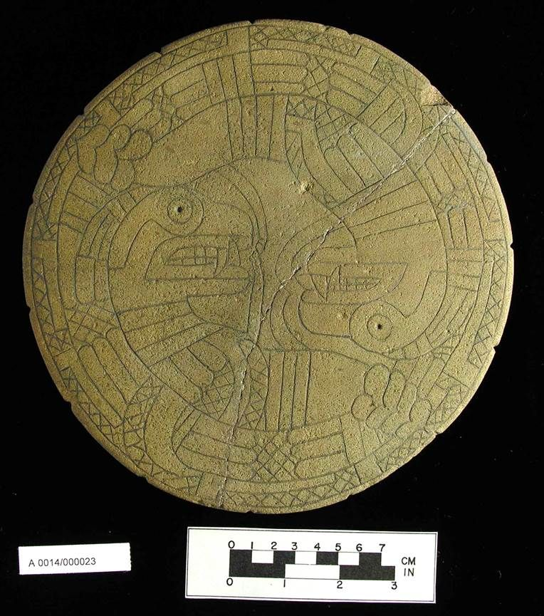 Sandstone Palette Engraved With Two Intertwined Serpent Monsters