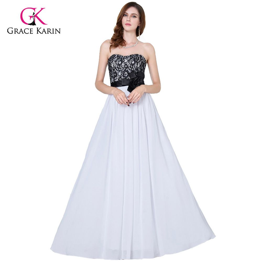 Grace karin evening dresses long black and white wedding party prom