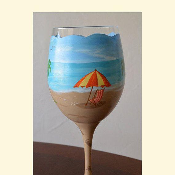 Beach Themed Wine Glass A Day At The Beach Hand Painted Large Wine Glass  Ocean Palm Trees Beach Chair Beach Umbrella Tropical