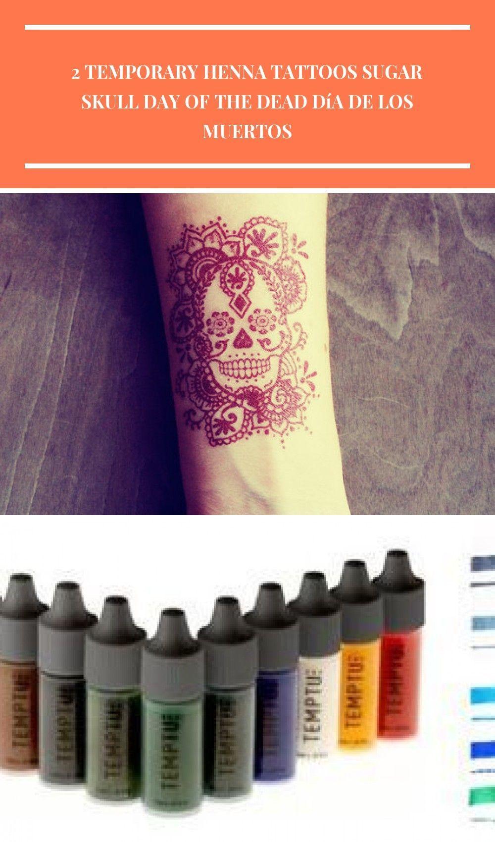 Henna Tattoo Für Jungs: 2 Temporäre Henna Tattoos Sugar Skull Tag Der Toten Día De