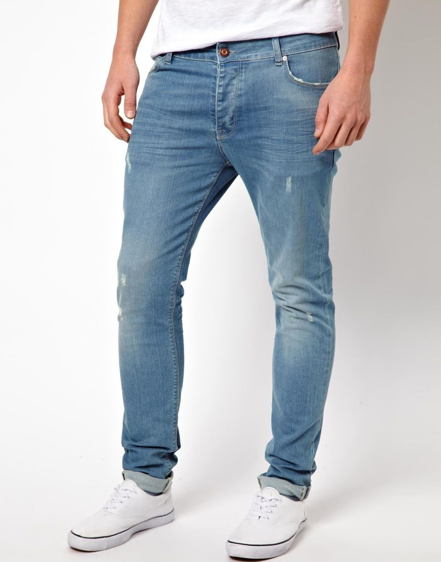 Asos Skinny Jeans With Worn Rips in Blue for Men   Lyst   mens denim ... d201862ae8