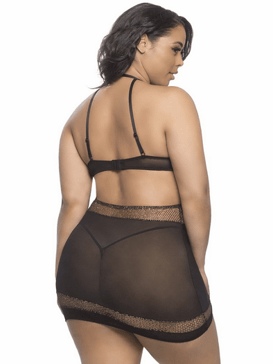 ddb72011bc2a4 Plus Size Naughty For You Fishnet Chemise   Thong Set
