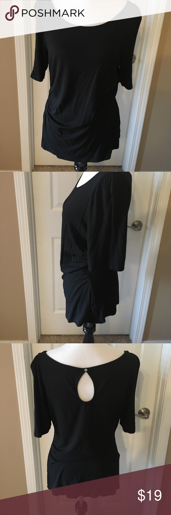 EUC L WHBM black top keyhole in back Super cute, comfy and fitted with rouched sides.  Silver decorative button at key hole opening in back.  Just above elbow length.  Smoke free home, air dried only. White House Black Market Tops Blouses