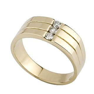 Mens 9ct Gold Diamond Set Ring