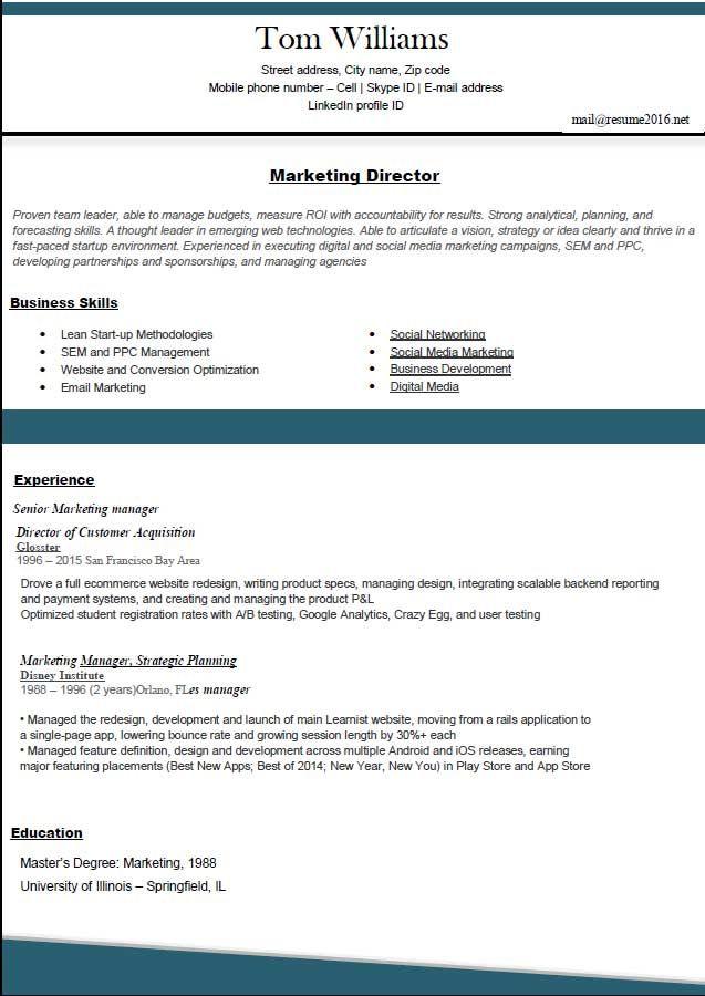 Resume Formats 2016 Marketing Directorg 637900 Resume