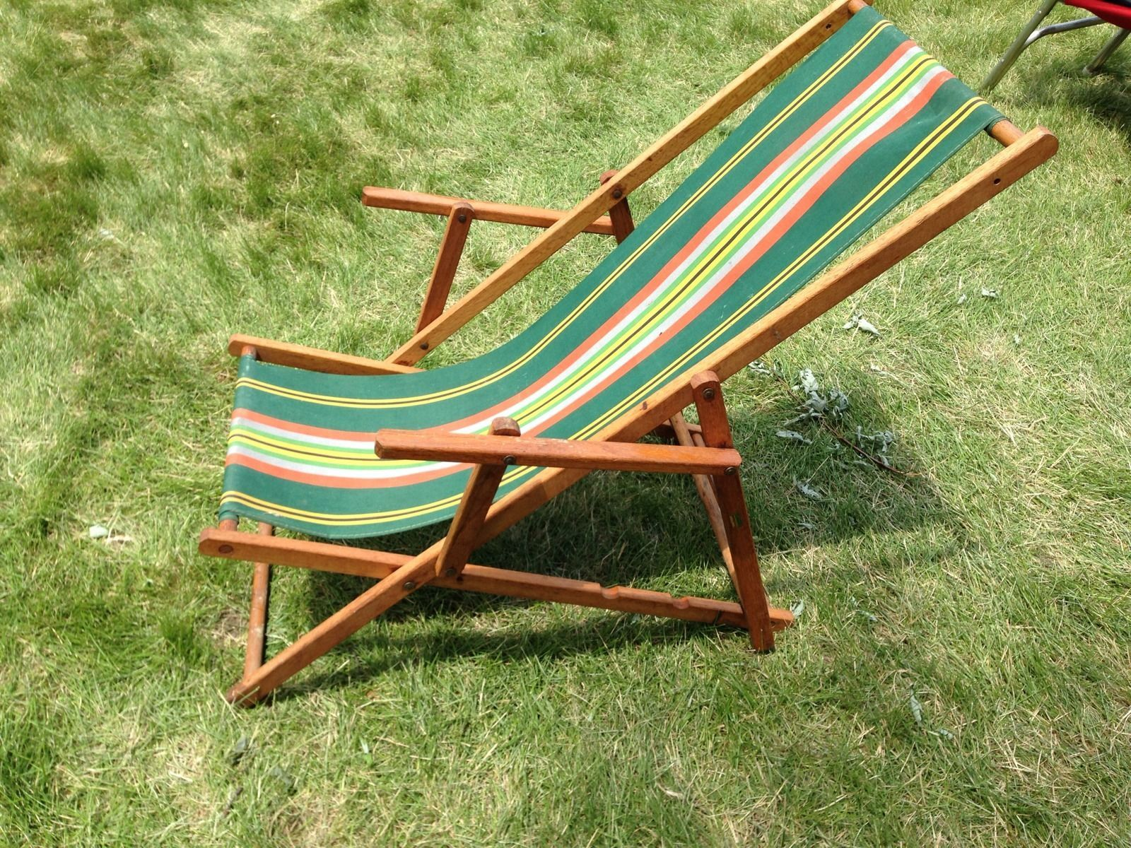 Super Details About Used Vintage Wood Canvas Folding Beach Patio Pabps2019 Chair Design Images Pabps2019Com