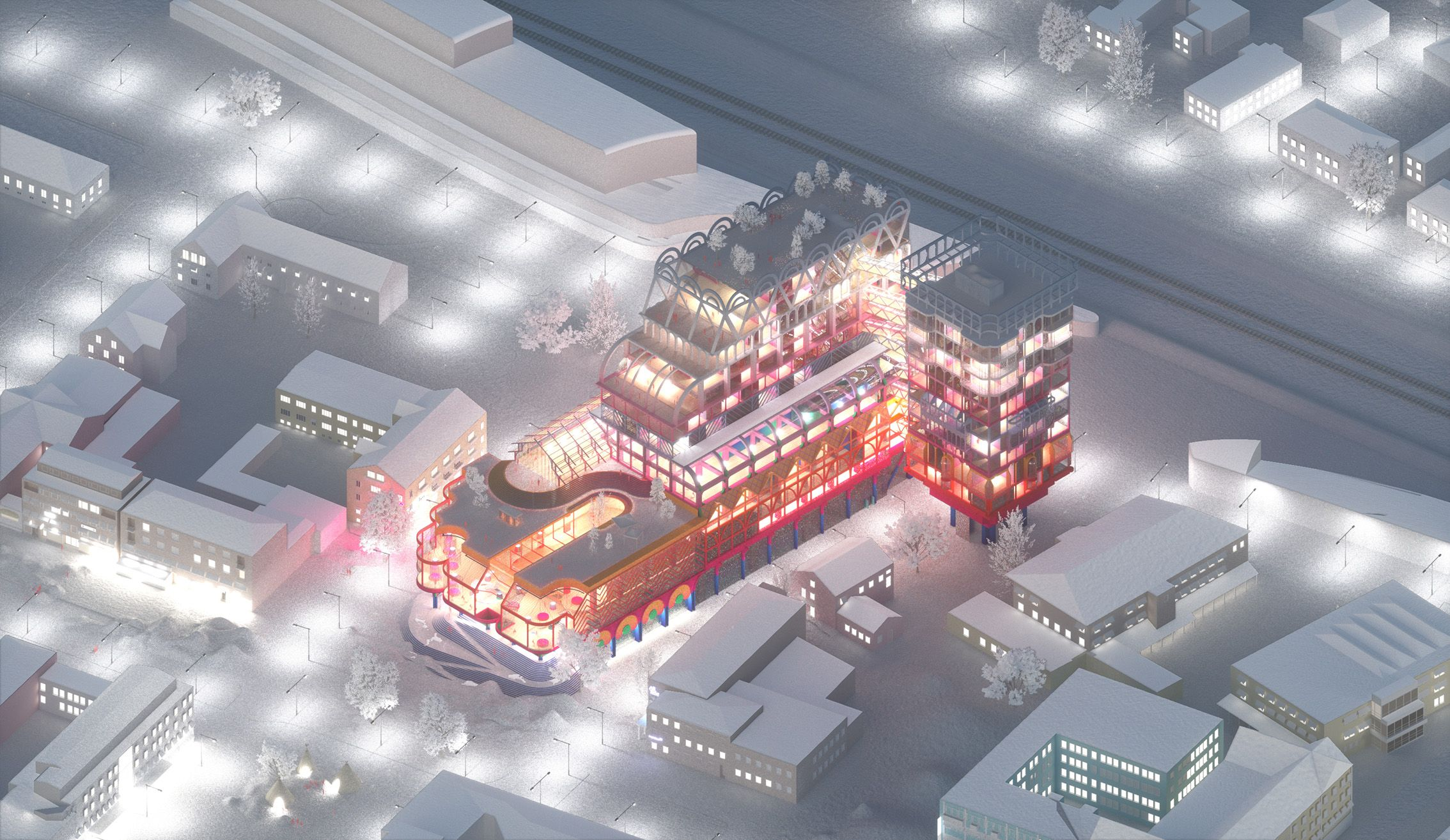 Space Popular's proposal for a new culture center in the Swedish northern city of Skellefteå. Isometric view of the culture center on a winter evening.