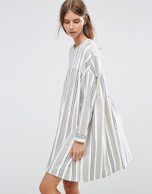 Long Sleeve Smock Dress in Natural Stripe | Fashion online, Clothes ...