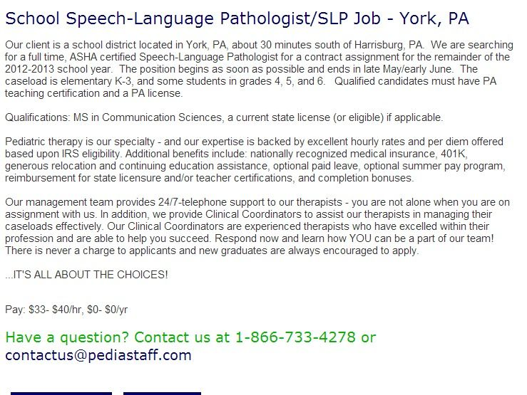 School Speech Language Pathologist Slp Job York Pa Our Client Is A School District Speech And Language Speech Language Pathologists School Based Therapy