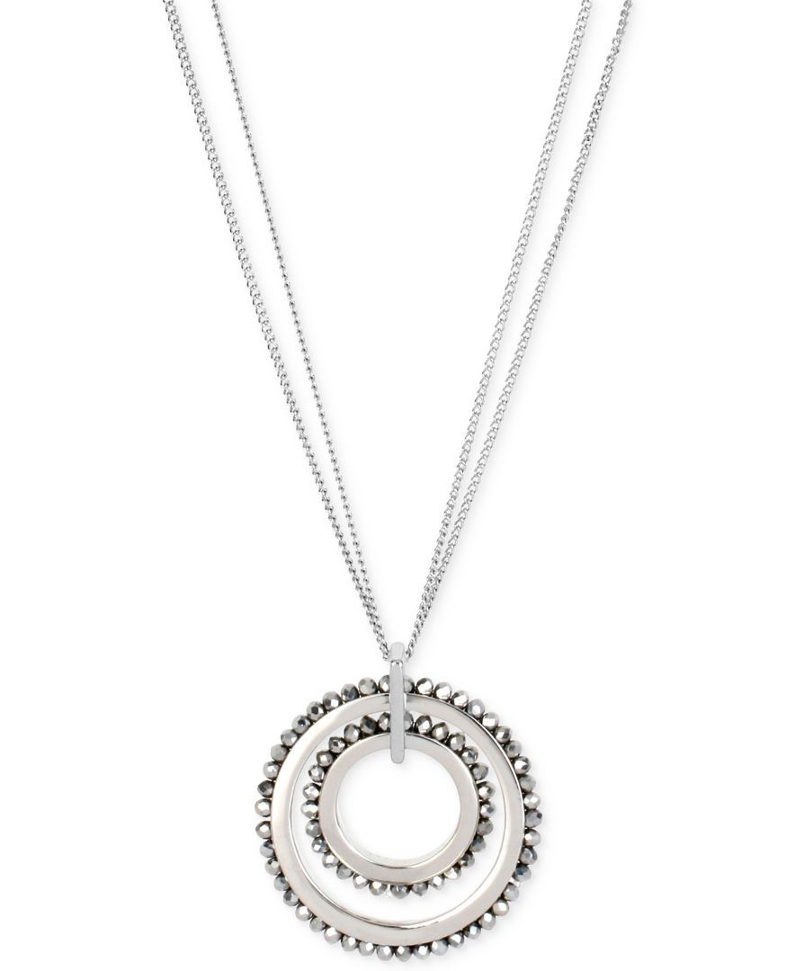 Kenneth cole new york woven faceted bead double circle pendant long
