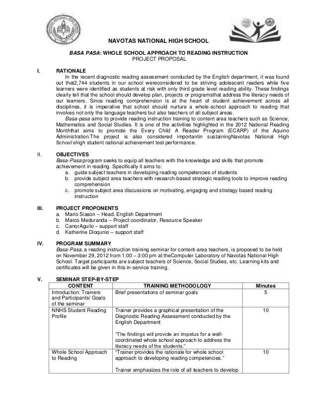 Navotas National High School Basa Pasa Whole School Approach To