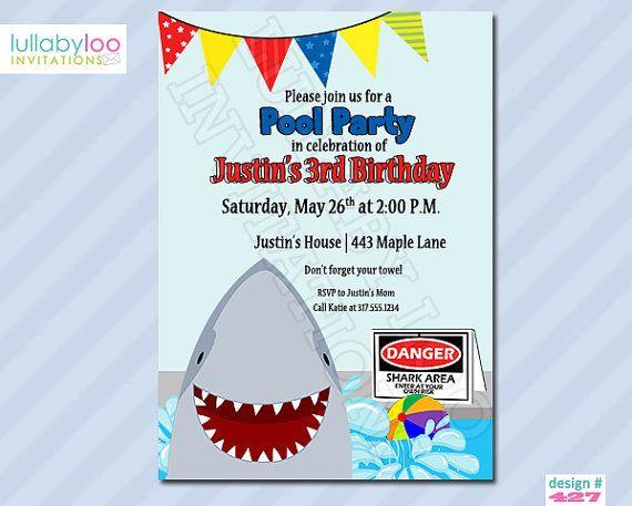 SHARK Birthday Invitations Pool Party Invitations (427) ~ use - birthday invitation swimming party