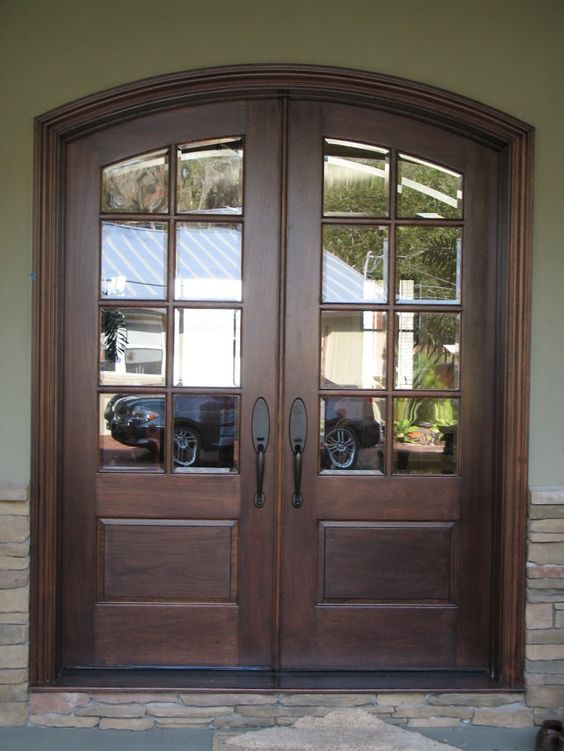 Interior Double Glass Front Doors With Dark Brown Wooden Frame Placed On The French Doors Exterior Wooden Front