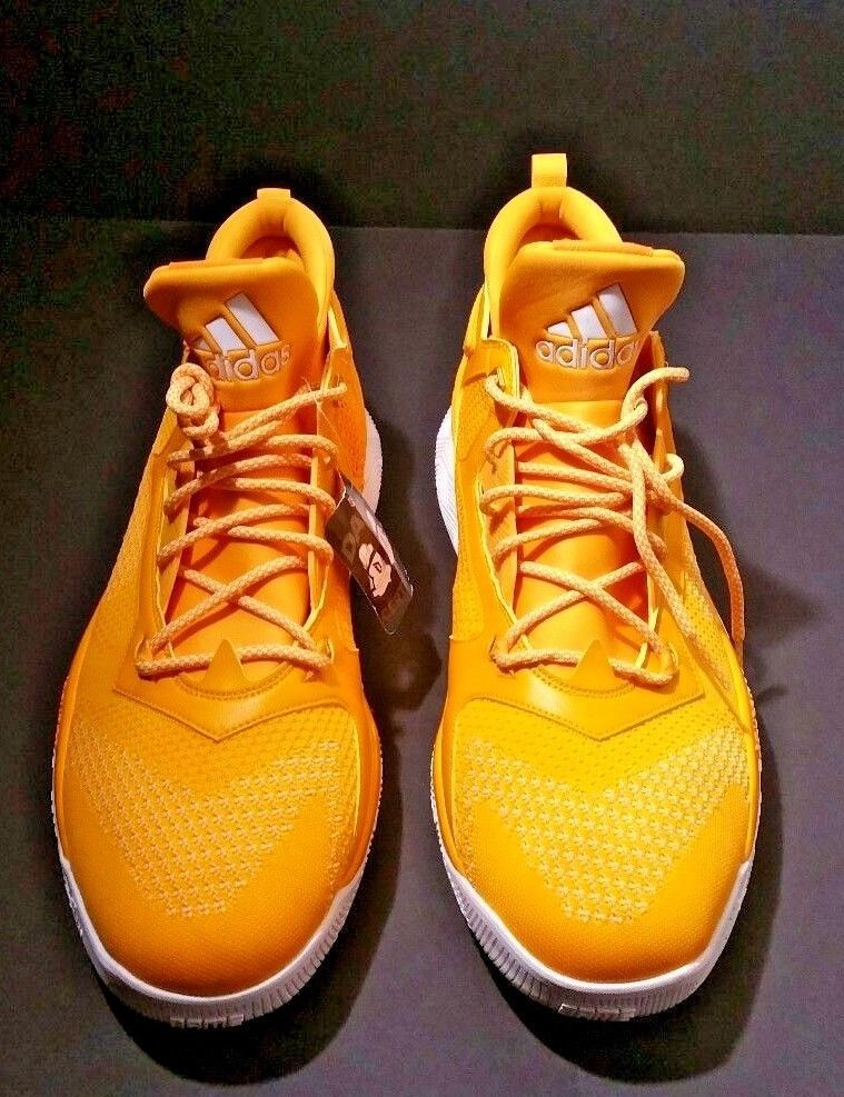 c9d24f72c55 Adidas Men s Dame 2 Boost Primeknit Basketball Shoe Yellow White Sole Size  17  Adidas  BasketballShoes