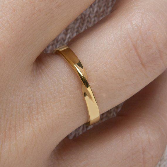 Regalo, anillo Mobius, anillo Mobius de 9k, anillo de boda, anillo mobius ORO SÓLIDO, anillo de compromiso, anillo Rose mobius, ancho 2.6 mm