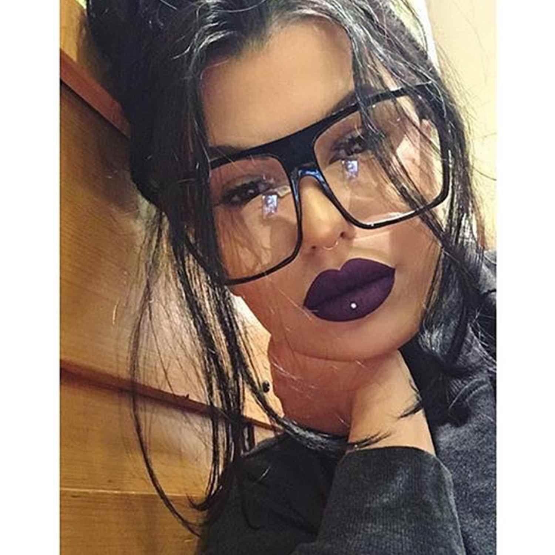 9fd2bff23f85e Large Oversized Clear Lens Women Eyeglasses Black Brown Plastic Frame Square