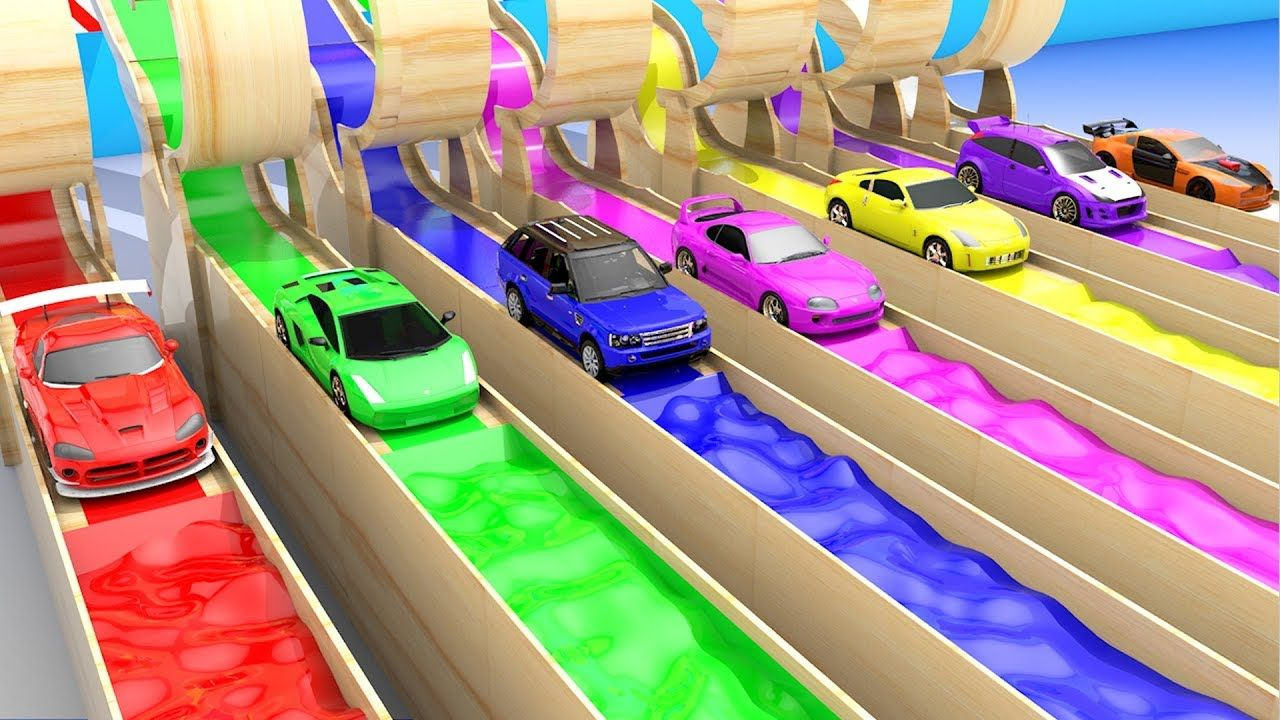 Colors for children to learn with hot wheels cars color water round